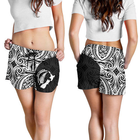 Aotearoa Rugby with Map and Silver Fern Women's Shorts TH90 - 1st New Zealand