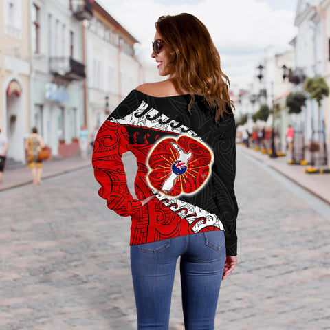Anzac New Zealand Off Shoulder Sweater - Lest We Forget Poppy Map Silver Fern NZ K4 - 1st New Zealand