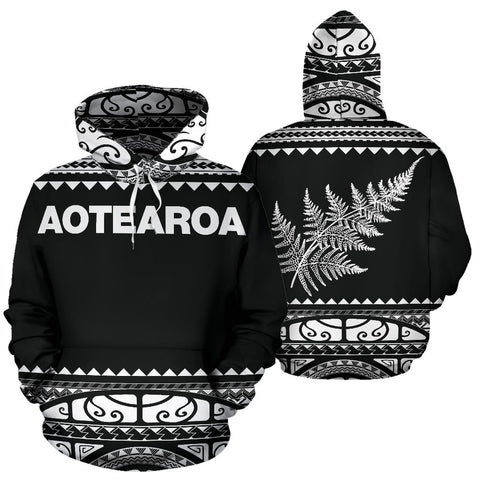 Image of New Zealand Maori Hoodie, Aotearoa Silver Fern Pullover Hoodie - White K4x - 1st New Zealand