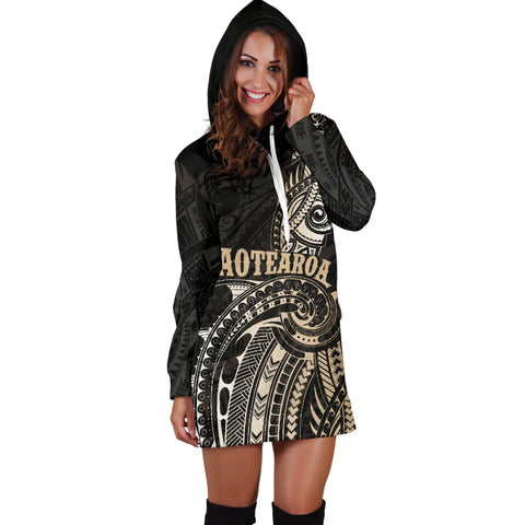 Image of Maori Tattoo with Map New Zealand Hoodie Dress K4 - 1st New Zealand