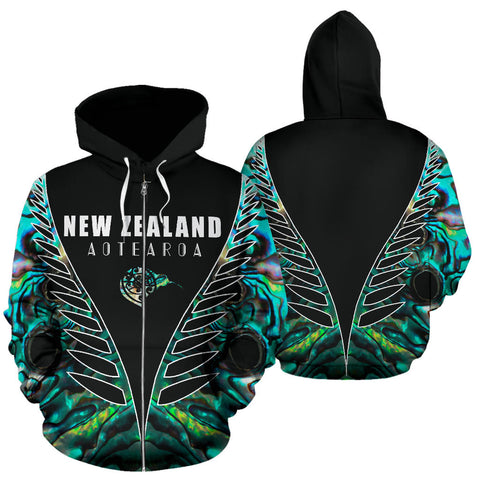 Aotearoa Paua Shell Zip Up Hoodie Vline Version K4 - 1st New Zealand