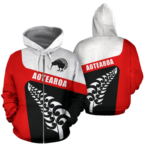 Image of Aotearoa Kiwi Fern Zip Up Hoodie front and back | New Zealand Hoodie