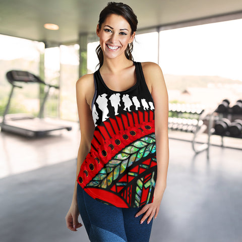Image of Anzac Soldiers New Zealand Women Racerback Tank, Poppies Lest We Forget Maori Paua K4