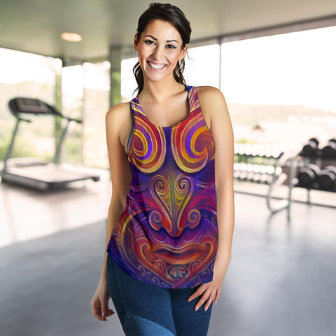 New Zealand Women's Racerback Tank Moko Face Painting Style Th5 - 1st New Zealand