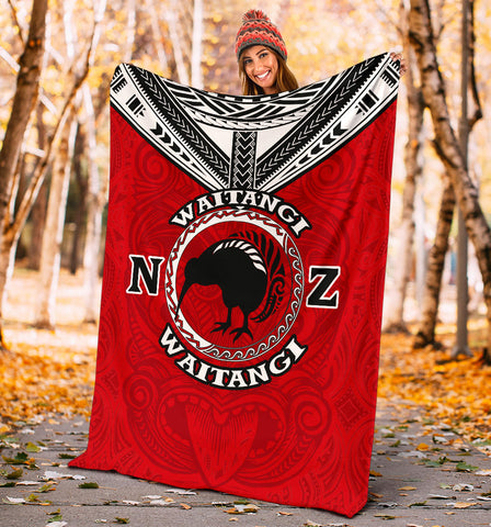 New Zealand Maori Blanket Waitangi Day - Red K5