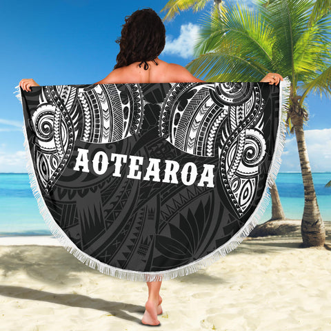 Image of Beach Blanket NZ Aotearoa Maori Tattoo White K4 - 1st New Zealand