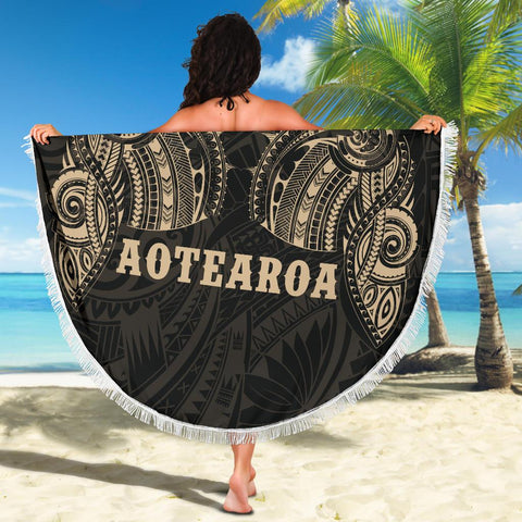 Image of Aotearoa Maori Tattoo Beach Blanket Golden K4 - 1st New Zealand