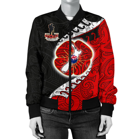 Anzac Jackets, New Zealand Lest We Forget Poppy Women's Bomber Jackets K4 - 1st New Zealand