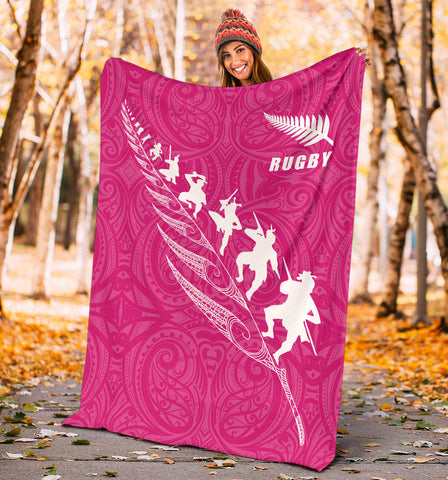 Image of Rugby Haka Fern Premium Blanket  Pink K4 - 1st New Zealand