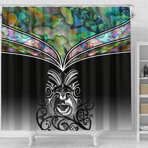 Image of New Zealand Paua Shell with Maori Face Shower Curtain K40