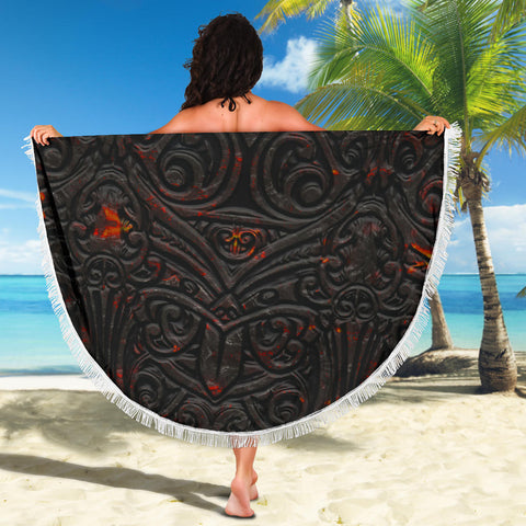 Image of New Zealand Warriors Beach Blanket Maori Tiki Vocalno Style Th00 - 1st New Zealand
