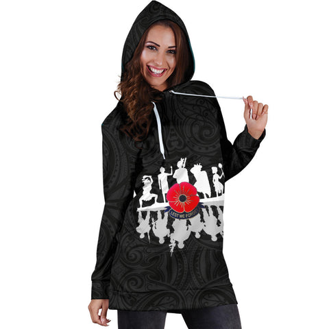 Image of Lest We Forget New Zealand Warriors Anzac Hoodie Dress K5 - 1st New Zealand