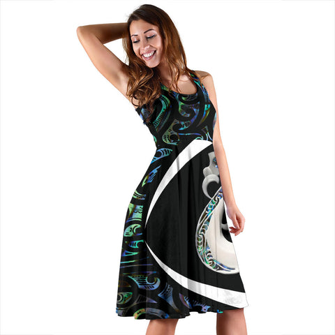 New Zealand Maori Dress, Manaia Paua Shell Midi Dress- Circle Style J95 - 1st New Zealand