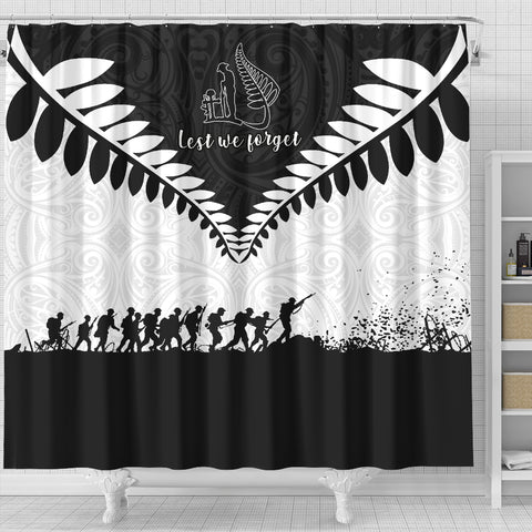 New Zealand Lest We Forget Shower Curtain Black White K40