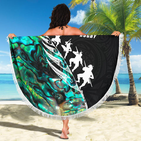 Beach Blanket NZ Rugby Haka Fern Paua Shell  K4 - 1st New Zealand