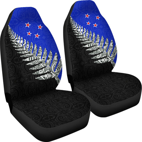 New Zealand Maori Silver Fern Flag Car Seat Covers K4 - 1st New Zealand