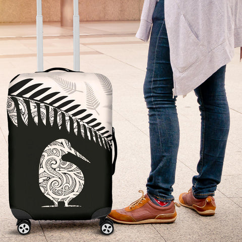 New Zealand Maori Luggage Cover Kiwi Bird With Silver Fern TH1
