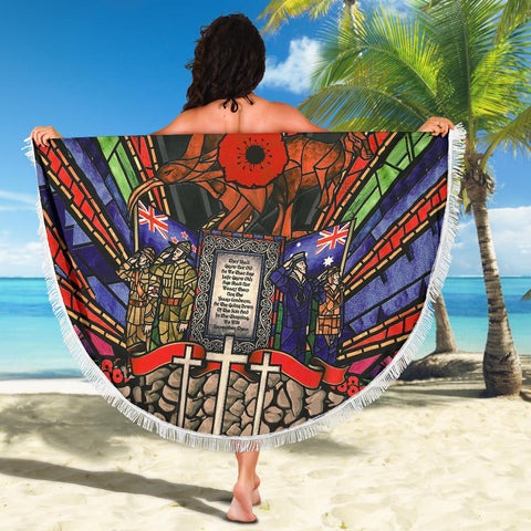 New Zealand Beach Blanket, Anzac Day Lest We Forget Th00 - 1st New Zealand