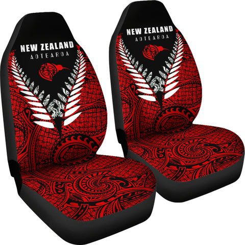 New Zealand Aotearoa Maori Silver Fern Car Seat Covers K4 - 1st New Zealand