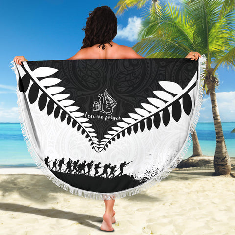 Beach Blanket NZ Lest We Forget Black White K4 - 1st New Zealand