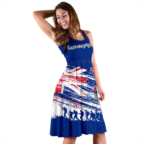 Lest We Forget Flag New Zealand Midi Dress K47 - 1st New Zealand