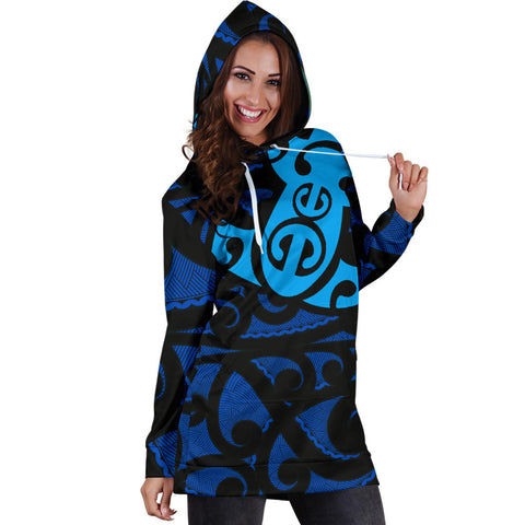 Image of Maori Blue Mangopare Women's Hoodie Dress - 1st New Zealand