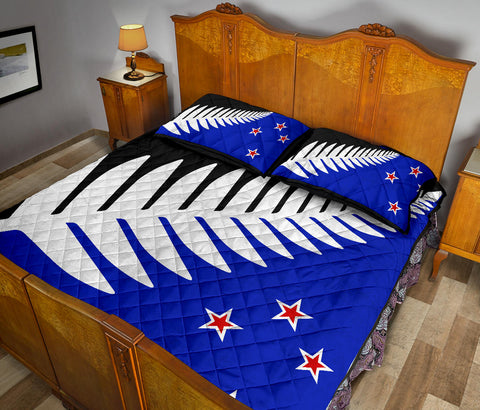 Image of New Zealand Flag Silver Fern Black, White Blue Quilt Bedding Sets K54 - 1st New Zealand