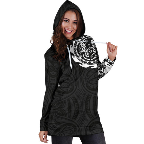 Maori Tangaroa Tattoo New Zealand Hoodie Dress - White A75 - 1st New Zealand