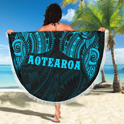 Image of Aotearoa Maori Tattoo Beach Blanket Blue K4 - 1st New Zealand