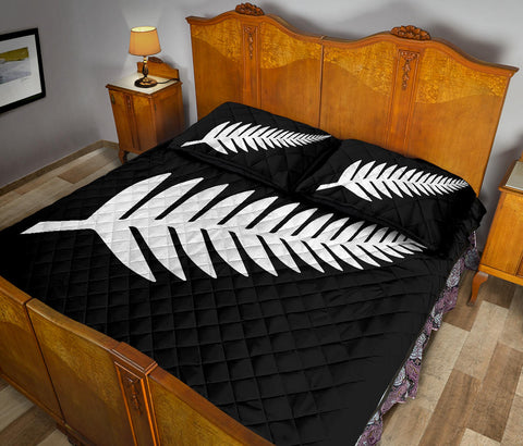 New Zealand Flag Silver Fern Black and White Quilt Bed Set K5 - 1st New Zealand