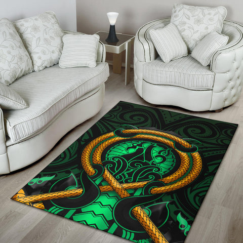 Maori New Zealand Area Rug Manaia Green K6 - 1st New Zealand