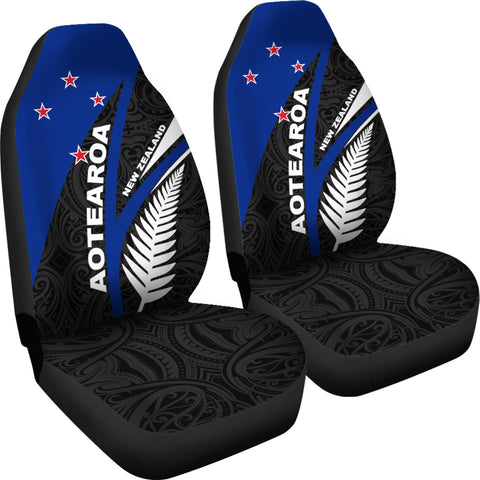 New Zealand Maori Silver Fern Flag Car Seat Covers K7 - 1st New Zealand
