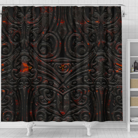 New Zealand Warriors Shower Curtain Maori Tiki Vocalno Style Th00 - 1st New Zealand
