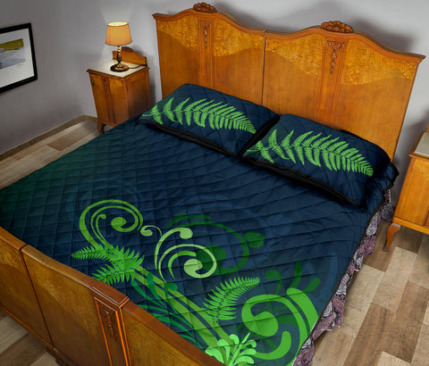 Quilt Bed Set NZ Silver Fern Green L1 - 1st New Zealand