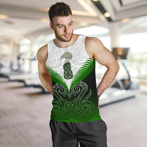Maori Manaia Tank Tops For Men Green K4 - 1st New Zealand