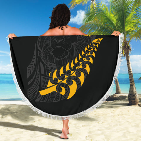 New Zealand Maori Lion Rugby Beach Blanket K5 - 1st New Zealand