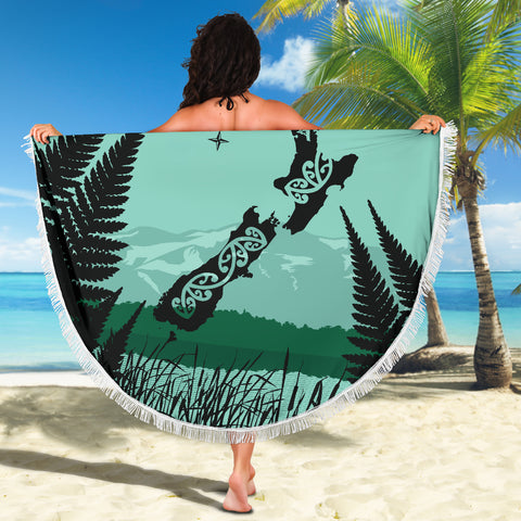 Image of New Zealand Map Beach Blanket K5 - 1st New Zealand