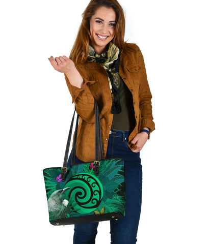 New Zealand Small Leather Tote Koru Fern Mix Tui Bird - Tropical Floral Turquoise K4 - 1st New Zealand