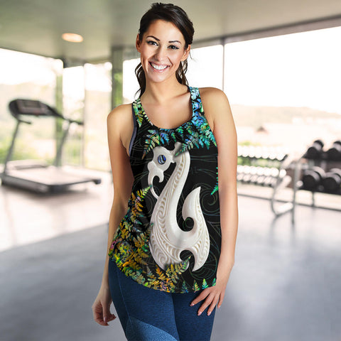 Aotearoa Women's Racerback Tank Manaia, New Zealand Silver Fern Paua Shell TH45 - 1st New Zealand