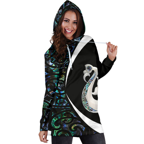 New Zealand Maori Manaia Paua Shell Hoodie Dress - Circle Style J95 - 1st New Zealand