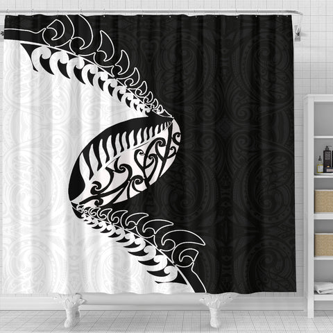 Image of Aotearoa Rugby Fern Shower Curtain Black White K40