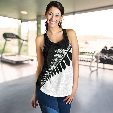 Silver Fern Women's Racerback Tank Black White K4 - 1st New Zealand