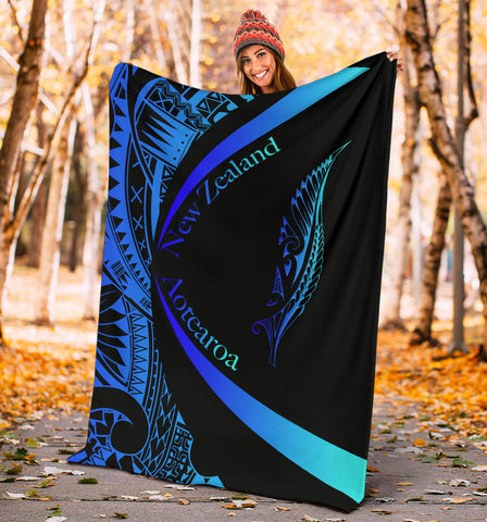 New Zealand Silver Fern Premium Blanket Maori Tattoo Circle Style - Blue J95 - 1st New Zealand