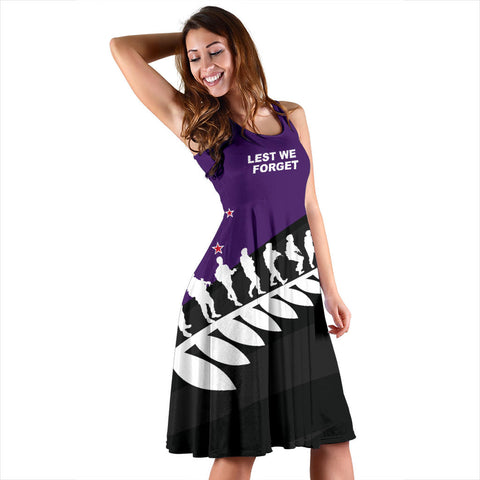 Lest We Forget Purple Midi Dress K5 - 1st New Zealand
