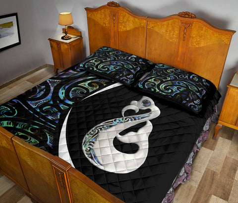 New Zealand Maori Manaia Paua Shell Quilt Bed Set - Circle Style J95 - 1st New Zealand