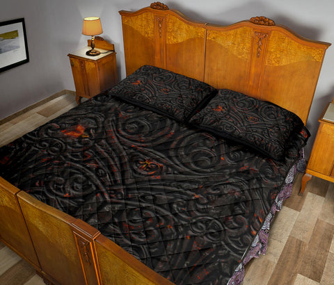 Image of New Zealand Warriors Quilt Bed Set Maori Tiki Vocalno Style Th00 - 1st New Zealand