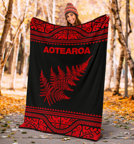 Aotearoa New Zealand Maori Premium Blanket Silver Fern - Red K4x - 1st New Zealand