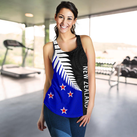 New Zealand Silver Fern Women's Racerback Tank Flag Style - Maori Pattern Th5 - 1st New Zealand