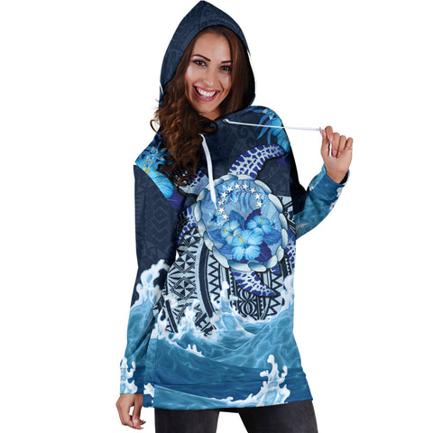 Image of Cook Islands Polynesian Sea Turtle Hibiscus Hoodie Dress K5 - 1st New Zealand