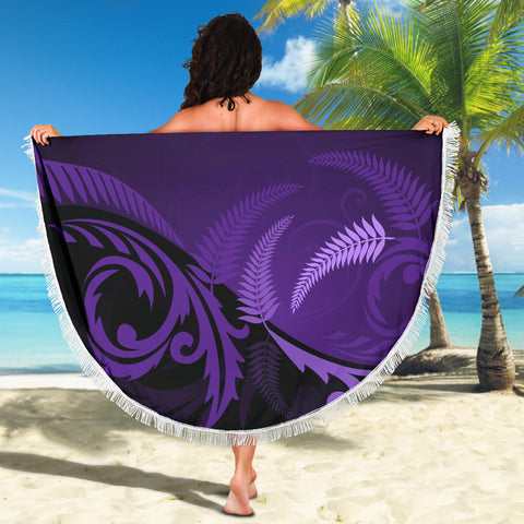 New Zealand Silver Fern Beach Blanket Purple K4 Front 4